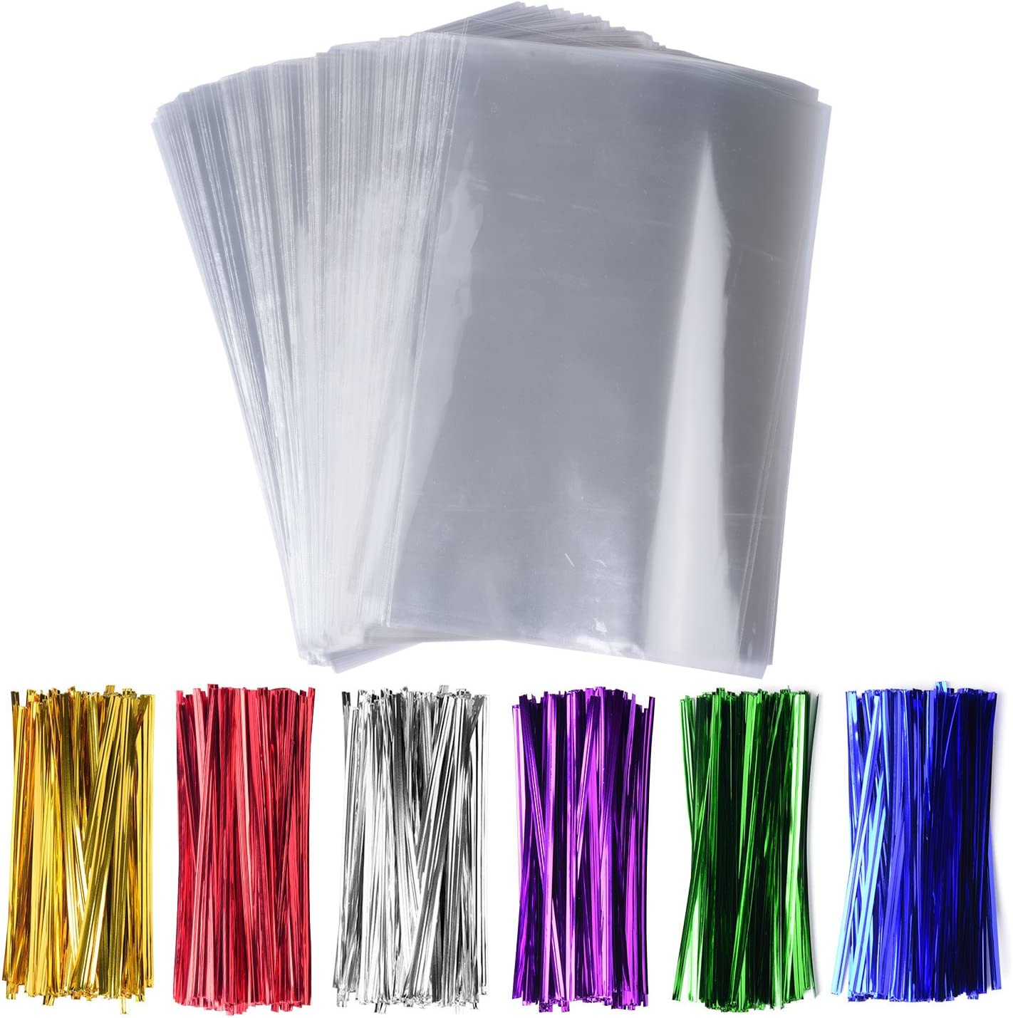 """200 Pack 6"""" x 9"""" Clear Cello Treat Bags 1.4mil OPP Plastic Bags with 6 Mix Colors Twist Ties Good for Wedding Cookie Gift Candy Bakery Supply Valentine Chocolates (6'' x 9'')"""