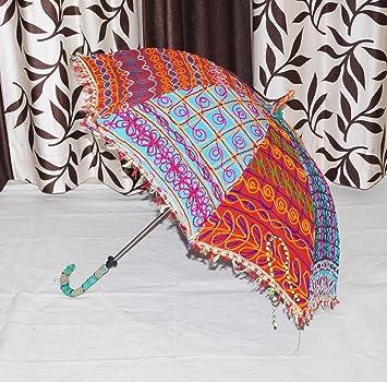 Bordado paraguas hecho a mano indio algodón sol paraguas Vintage verano sombrilla paraguas 34 x 40