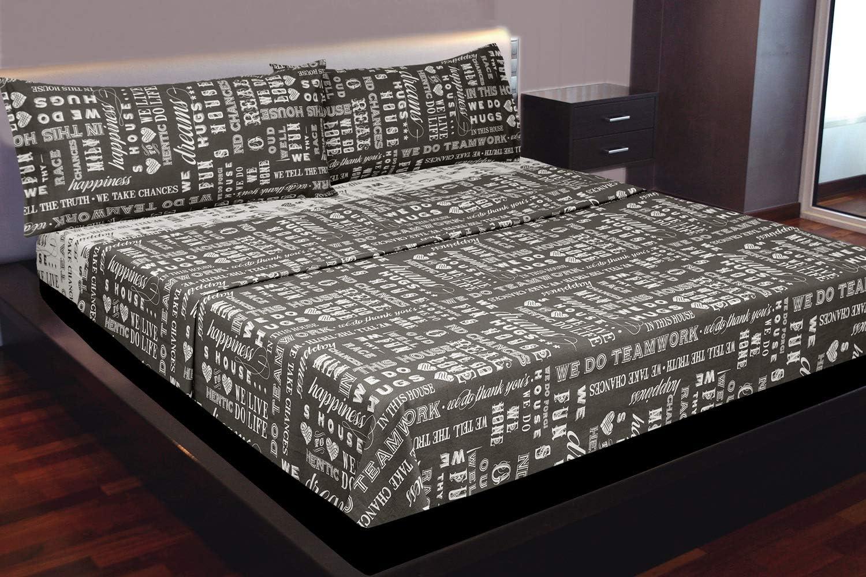 coussins et drap-housse Parure de lit pour lit 160 x 190//200 cm Draps Montse Interiors Motif : inscription Chances Marron//beige Parure de lit 100 /% coton