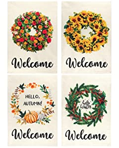 Billion Sky Summer Welcome Garden Flag Set of 4, 12×18 Inch Double Sided Design for All Seasons, Burlap Spring Fall Winter Seasonal Yard Flags for Outdoor Decoration