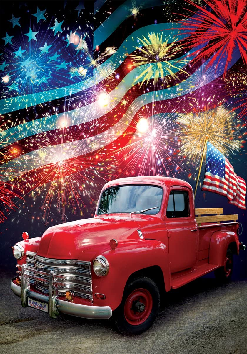 Patriotic Truck - Garden Size, 12 Inch X 18 Inch, Decorative Double Sided Licensed, Trademarked and Copyrighted Flag Printed IN USA by Custom Decor Inc.