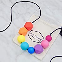 Rainbow Teething Necklace for Breastfeeding and Baby Wearing New Mum New Baby Gift Silicone Jewellery by HexNex