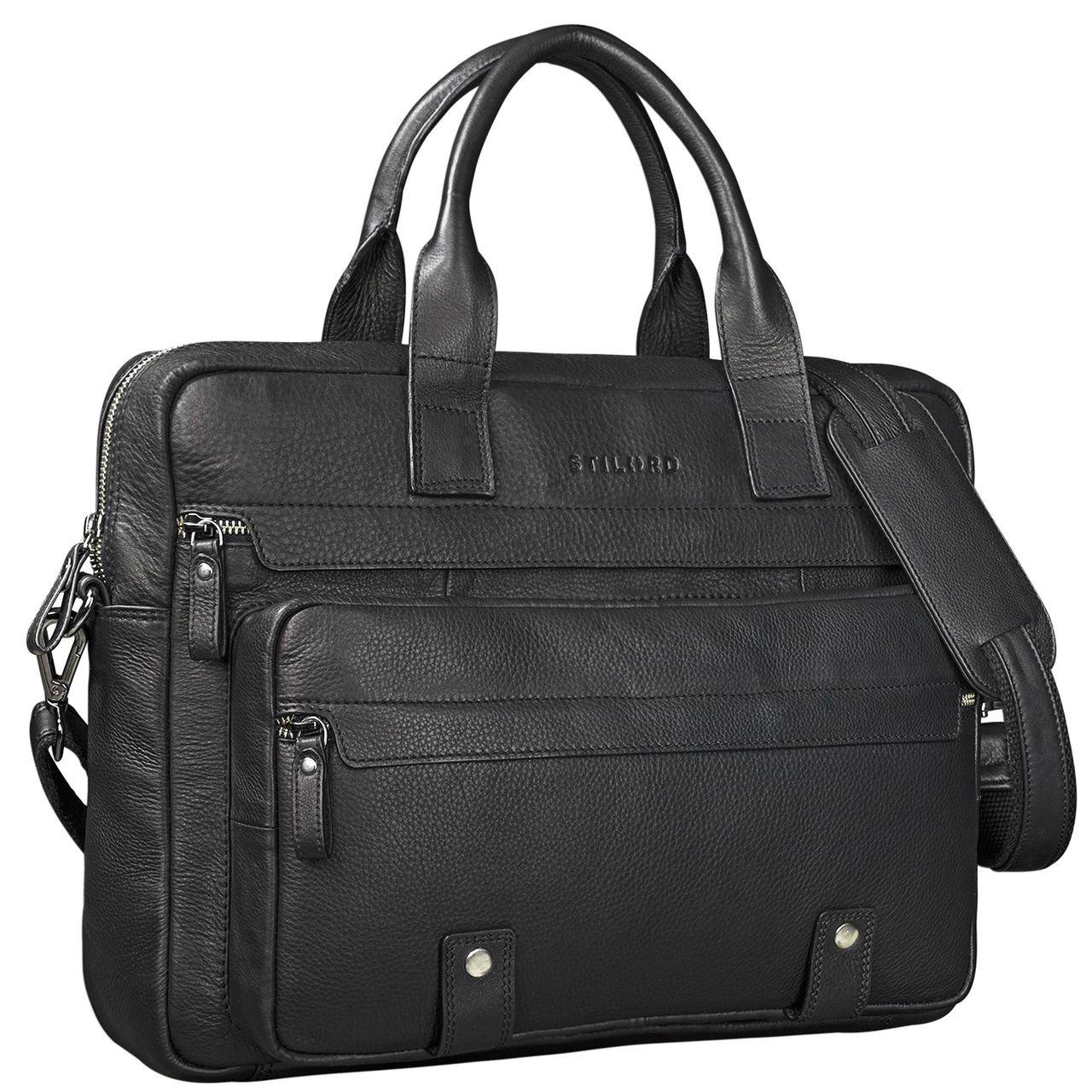 Color:Kara Cognac STILORD Leander Bolsa de Negocios o malet/ín para port/átil de 15.6 Bolso de Piel para Trabajo de Hombres y Mujeres Bolsa Mensajero de Cuero aut/éntico
