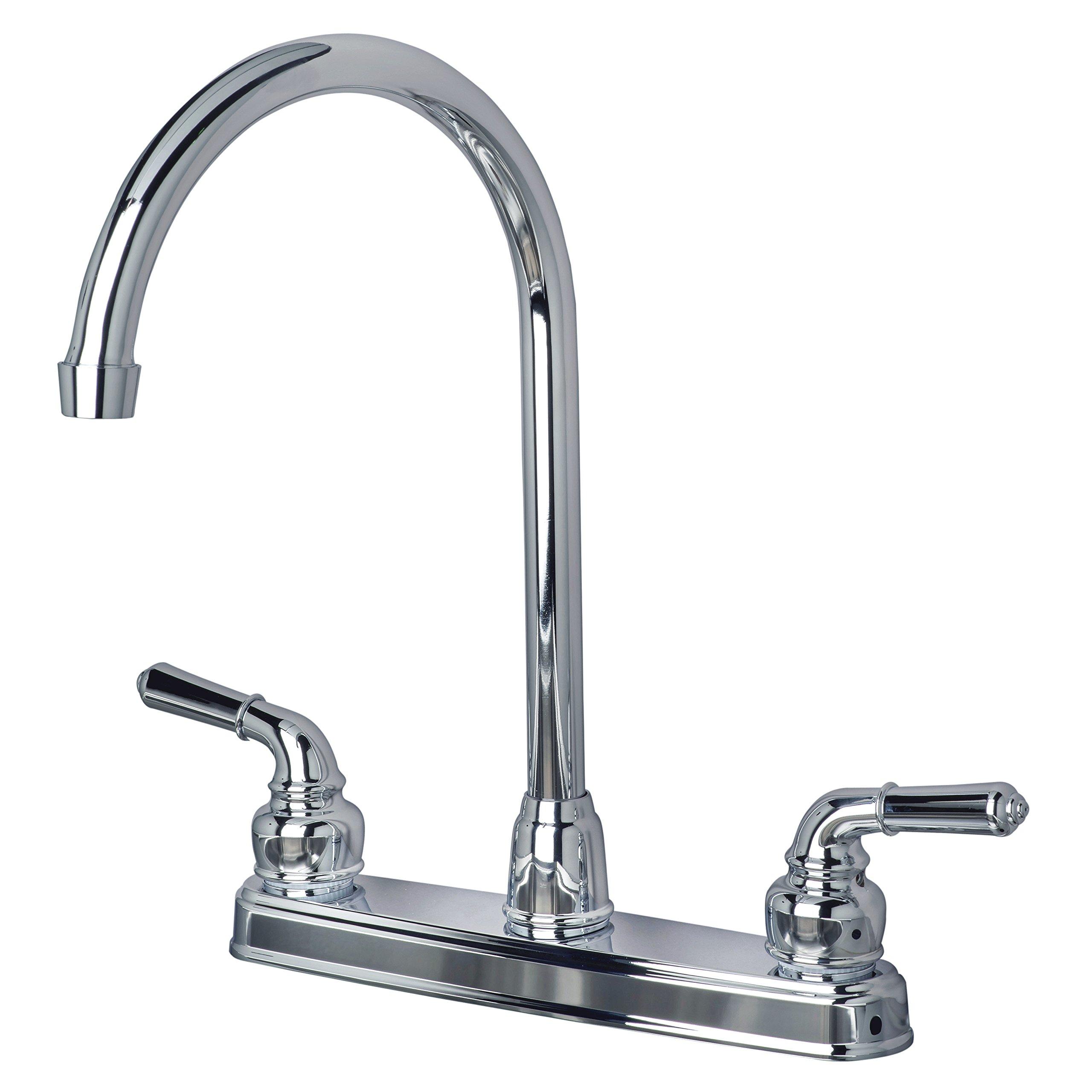 Builders Shoppe 1201CP RV Mobile Home Non-Metallic High Arc Swivel Kitchen Sink Faucet Chrome Finish