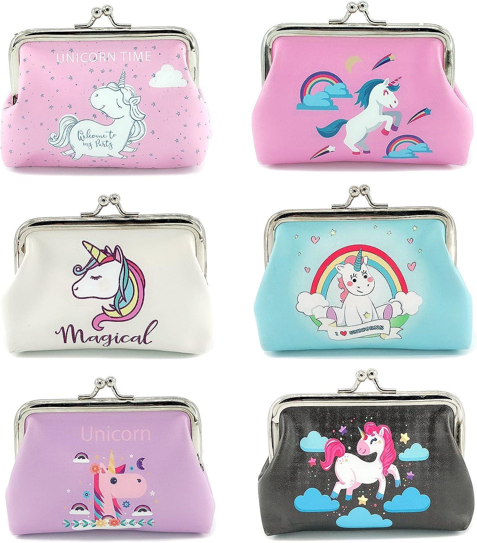 Elesa Miracle 6pc Women Girl Unicorn Coin Purse Clutch Pouch Wallet Value Set