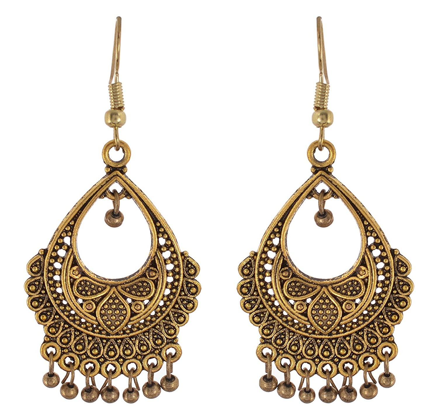 Metal Indian Dangle Earring for Woman and Girls Subharpit Drop Shape Long