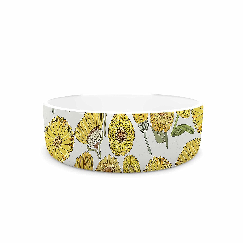 KESS InHouse Pom Graphic Design Life is Beautiful Yellow gold Typography Illustration Pet Bowl, 7