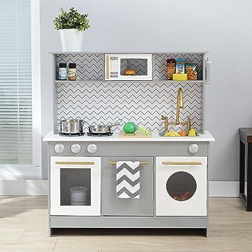 Teamson Kids Bermingham Wooden Kids Play Kitchen Toddler Pretend Play Set With Accessories Grey White