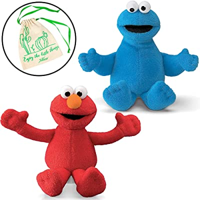"""GUND Sesame Street Elmo and Cookie Monster 6"""" Beanbag Plushies, with Myriads Drawstring Bag: Toys & Games"""