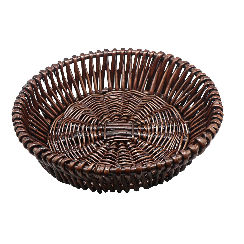 HsingsJ Handmade Wicker Bread Basket Tray Food Tabletop Serving Basket for Restaurant different styles