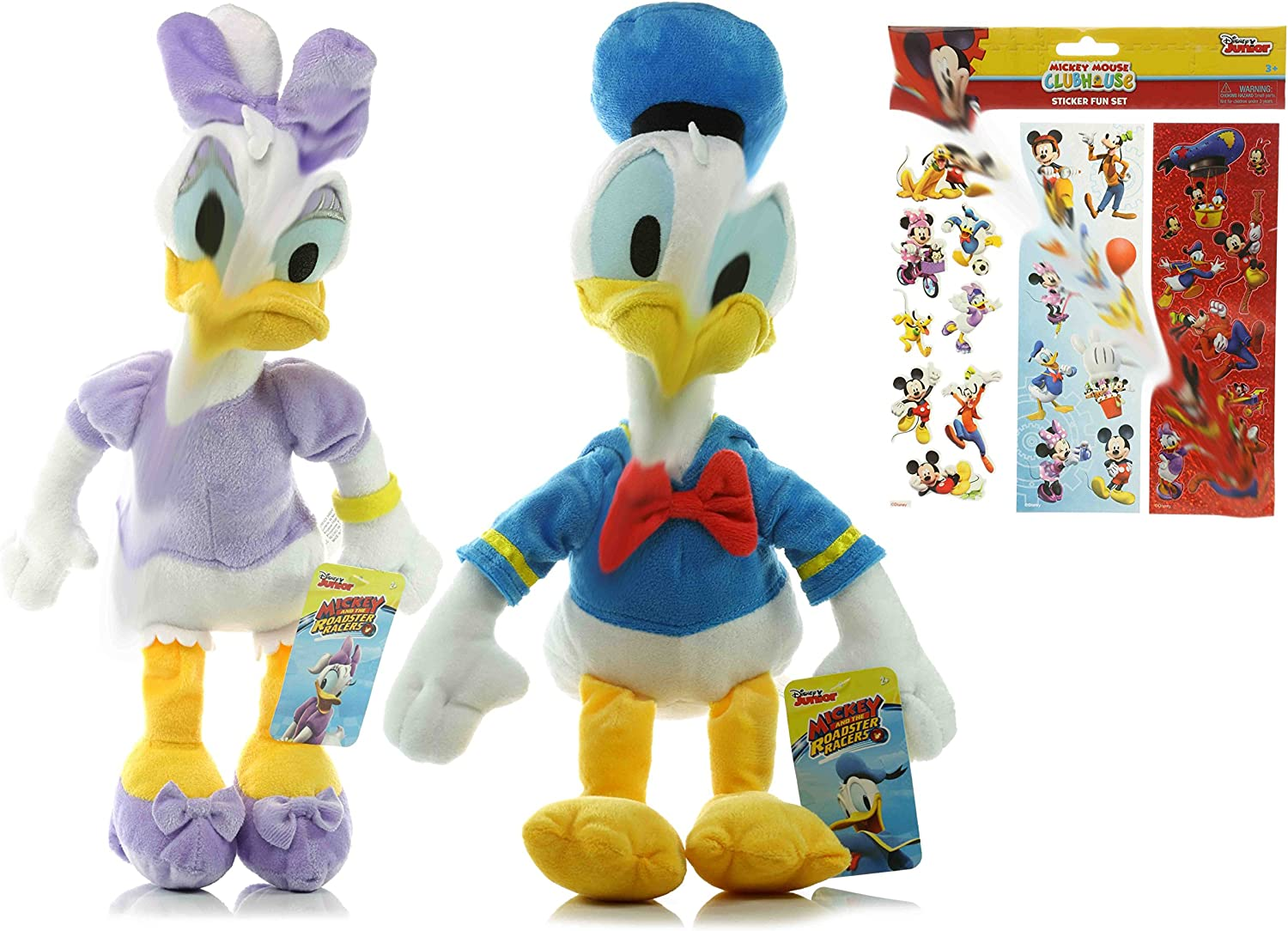 Amazon Com Cali Rcgg Donald And Daisy Duck Plush Doll Disney 15 Donald Duck Plush Toy 15 Daisy Duck Plush Toy Mickey Mouse Clubhouse Sticker Fun Set Toys Games