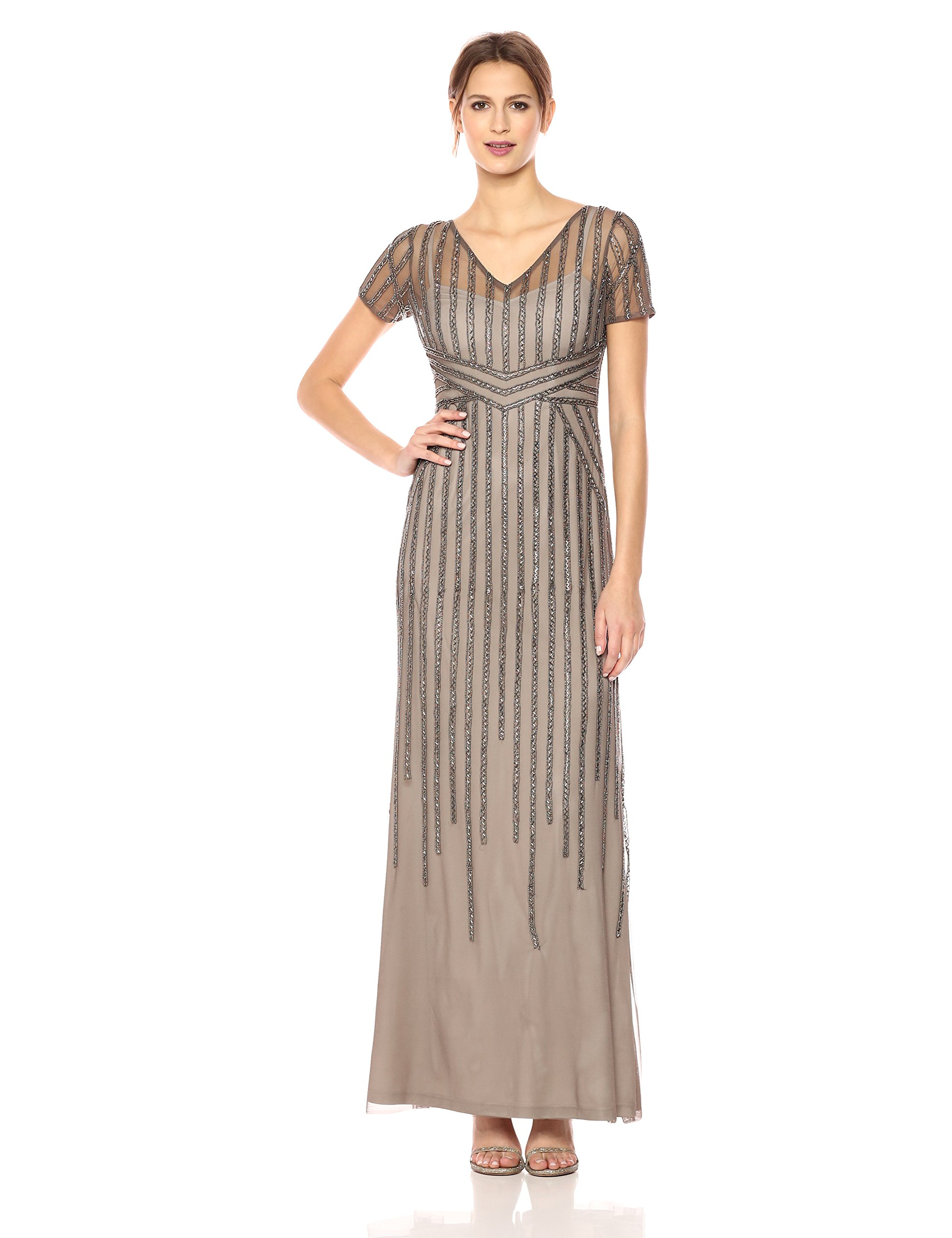 Adrianna Papell Women's Short Sleeve Linear Beaded Long Deco Gown, Lead, 14
