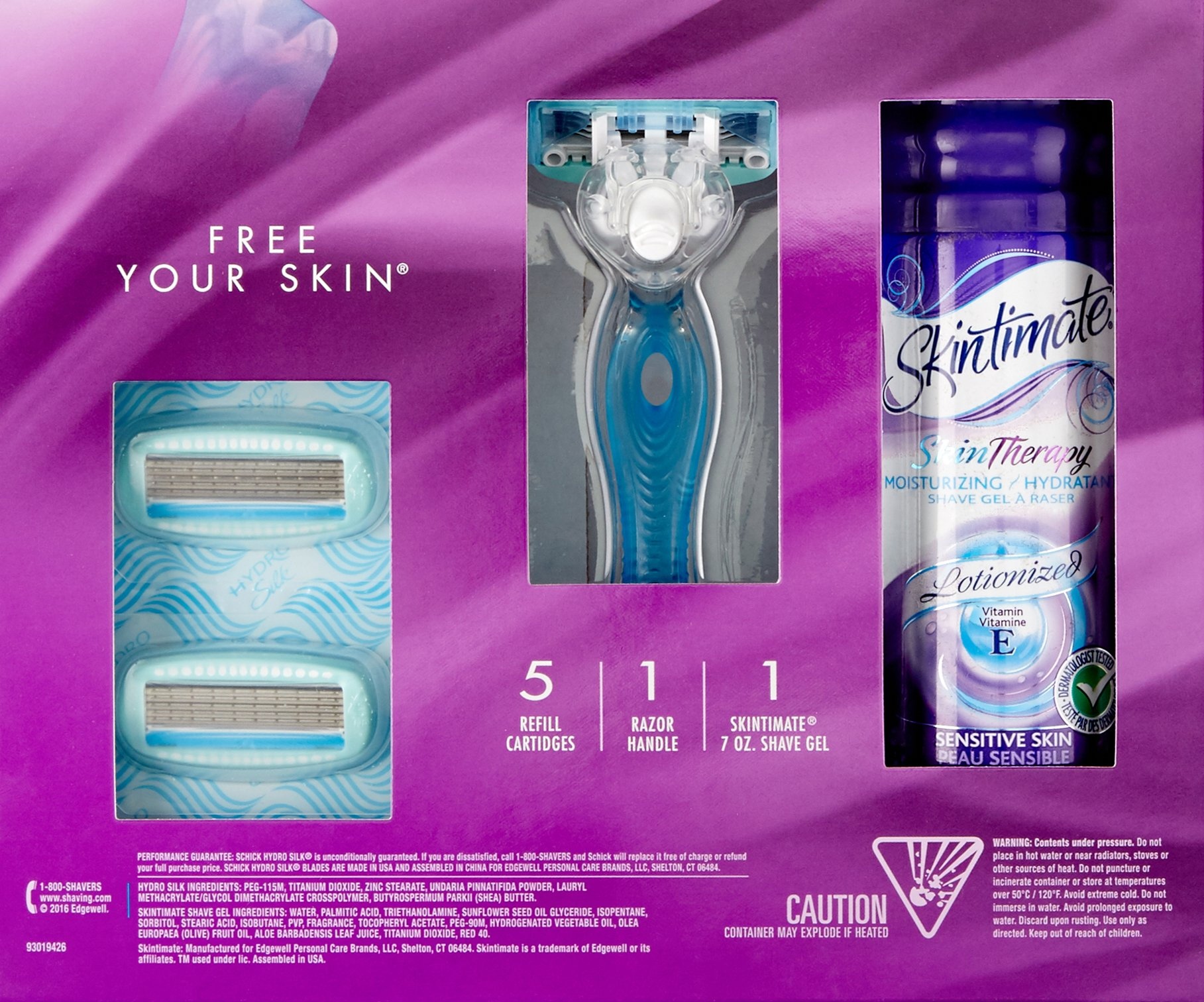 Schick Hydro Silk Shaving Starter Gift Set for Women with Shower Ready Razor Refill Blades and Skintimate Skin Therapy Shave Gel for Sensitive Skin by Schick (Image #8)