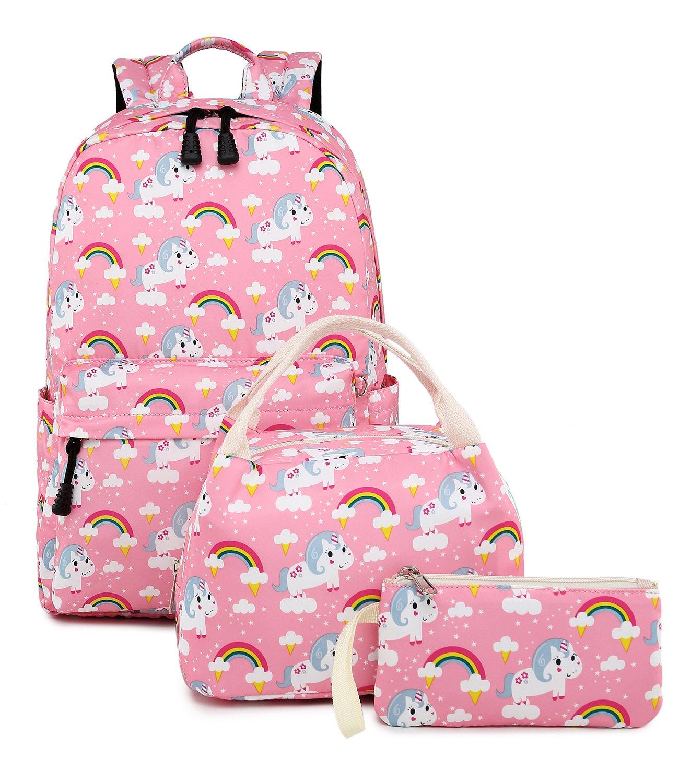 Abshoo Cute Lightweight Kids School Bookbags Unicorn Girls Backpacks With Lunch Bag (Unicorn Pink Set)