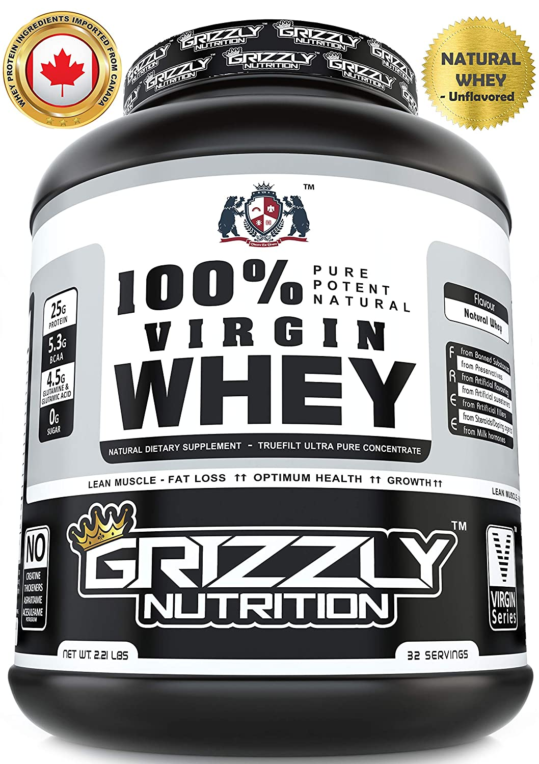 cb7512d1b0c73 Grizzly Nutrition - 100% Virgin whey protein - with digestive enzymes    probiotics - 2.21lb-1kg  Amazon.in  Health   Personal Care
