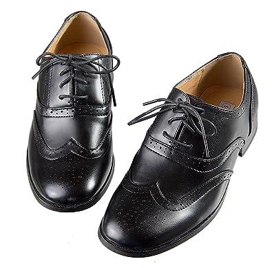 545ee589ed3e7 Boys Black Oxford Pattern Lace Up Formal Dress Shoes (1 M US Little Kid)