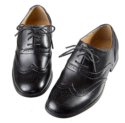 Amazon.com | Boys Black Oxford Pattern Lace Up Formal Dress ...