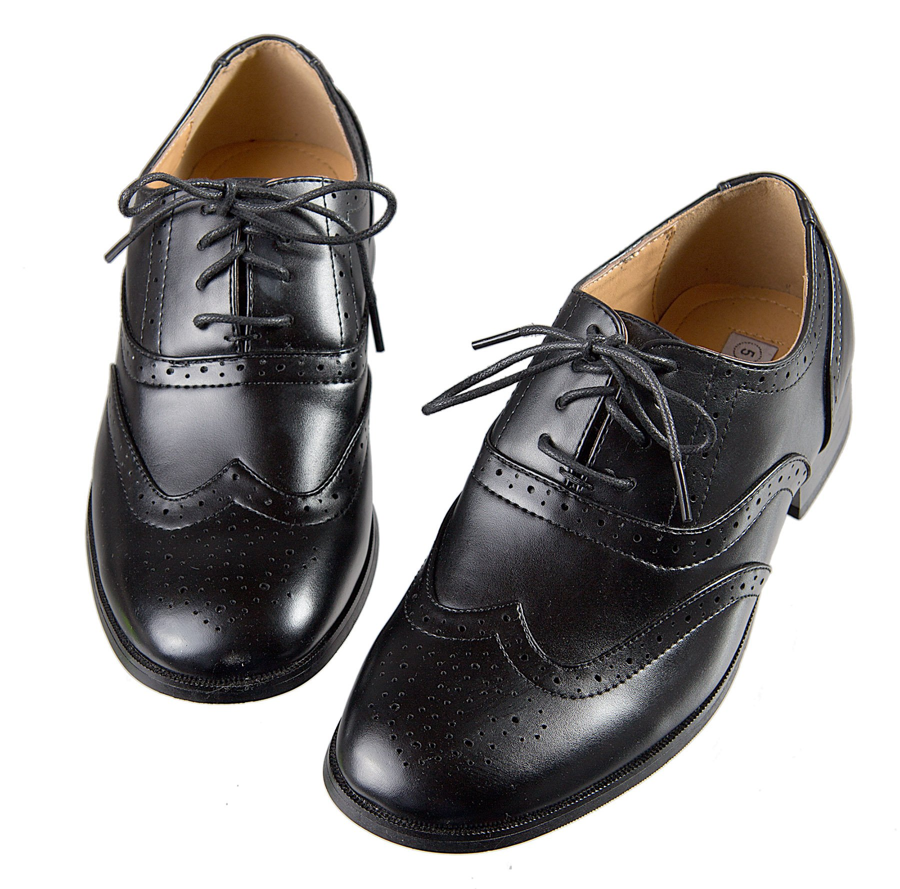 Boys Black Oxford Pattern Lace up Formal Dress Shoes (7 M US Toddler)