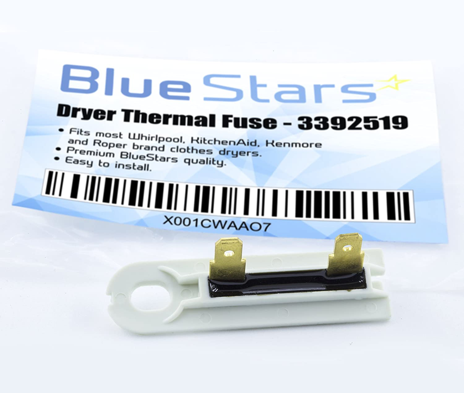 3392519 Dryer Thermal Fuse Replacement Part By Blue Push In Box House For Stars Exact Fit Whirlpool Kenmore Home Improvement