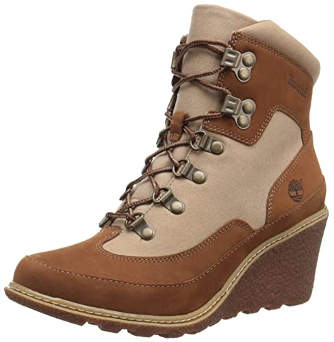 Timberland Women's Amston Leather Fabric Hiker Boot, Rust Nubuck/Tan Waxed  Canvas, 6.5