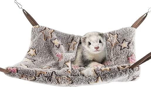 Niteangel Hanging Hammock Nap Sack Swing Bag Pet Sleeper for Ferret Rat Sugar Glider and Other Small Animals (Cream, Star)