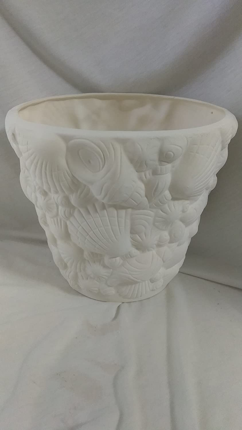 Ready to paint Lg Seashell Planter Ceramic Bisque