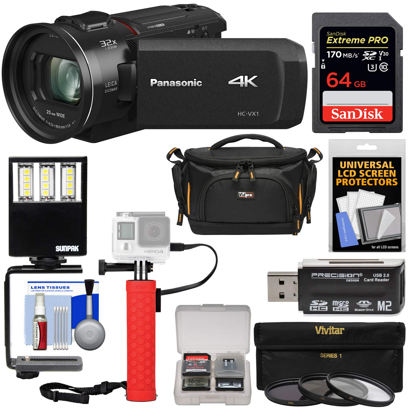 Panasonic HC-VX1 Wi-Fi 4K Ultra HD Video Camera Camcorder with 64GB Card + Battery Hand Grip + Case + 3 UV/CPL/ND8 Filters + LED Video Light + Kit by Panasonic