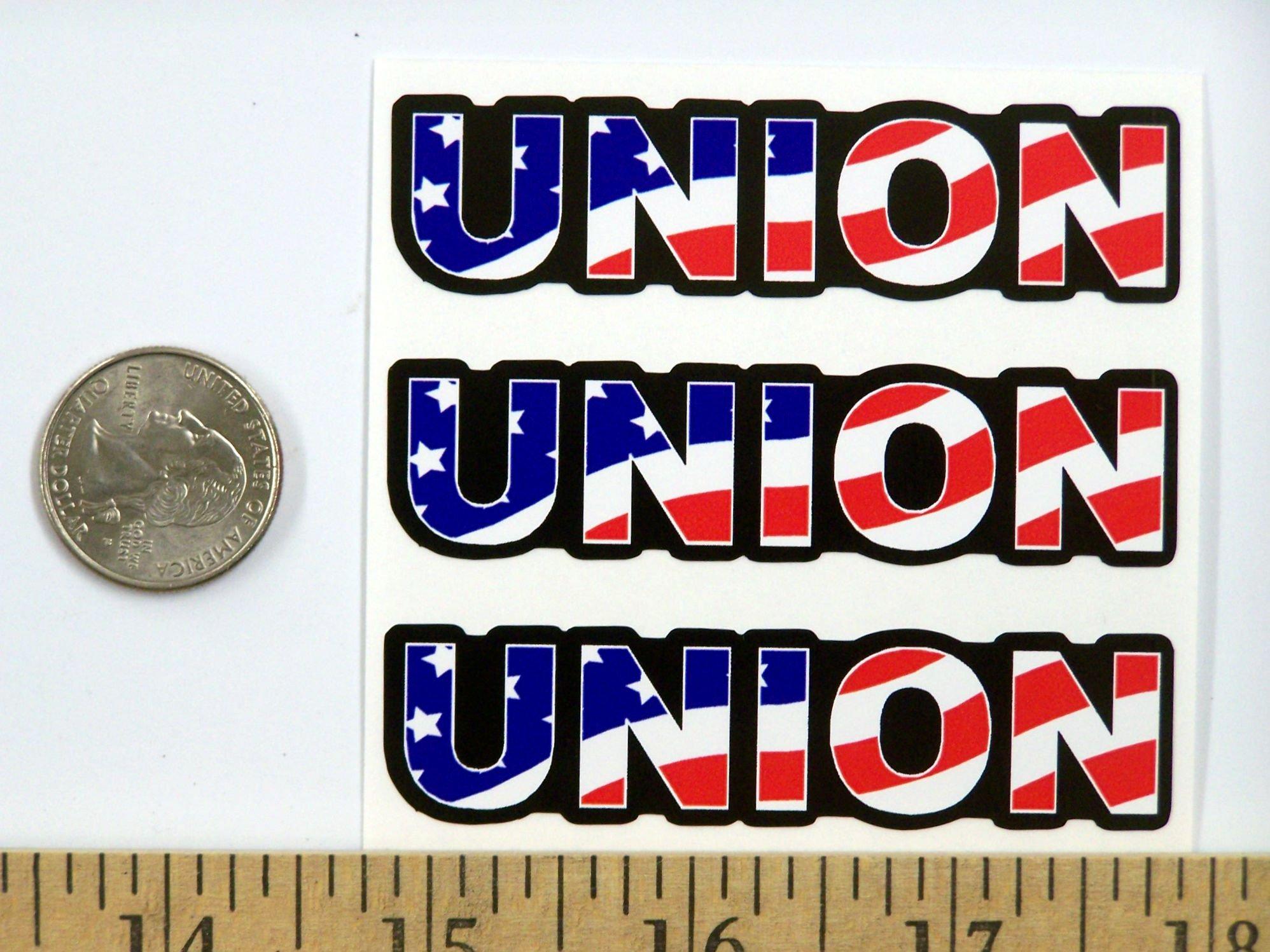 "3 - Union US Flag Hard Hat/Helmet Stickers 1"" x 2"" H156 by StickerPirate (Image #2)"