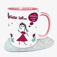 UKo-Art, rosa Glücks-Tasse für Schwester, Glück ist eine Schwester wie Dich zu haben, Kaffeebecher Becher, 3-teiliges Geschenkset,