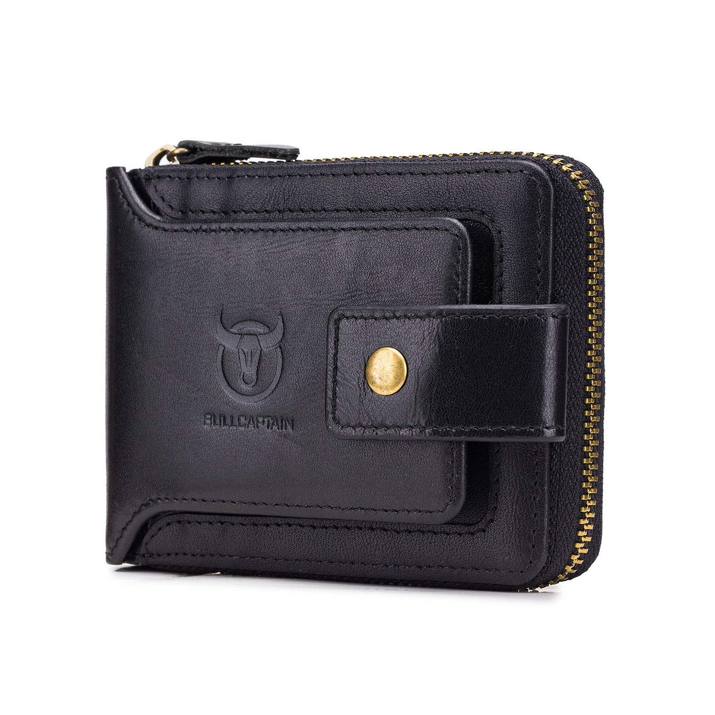 RFID Bifold Men's Cowhide Leather Zip Around Wallet Vintage Travel Multi Card Holder Purses, Black