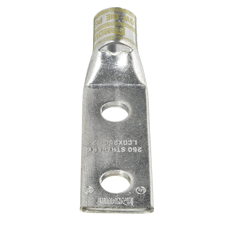 Panduit LCDX6-10A-L Flex Conductor Copper Compression Lug .63-Inch Hole Spacing #10 Stud 2 Hole #6 AWG Flex