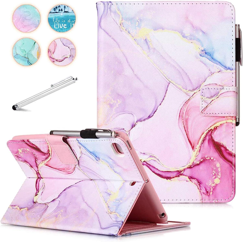 iPad Mini 5 Case Mini 4 Mini 3 2 Cover, FANCITY Smart Wake Sleep Flip Stand Case Soft PU Leather Protective Case with Card Slot Pen Holder for Apple iPad Mini 1 2 3 4 5 - Pink Marble