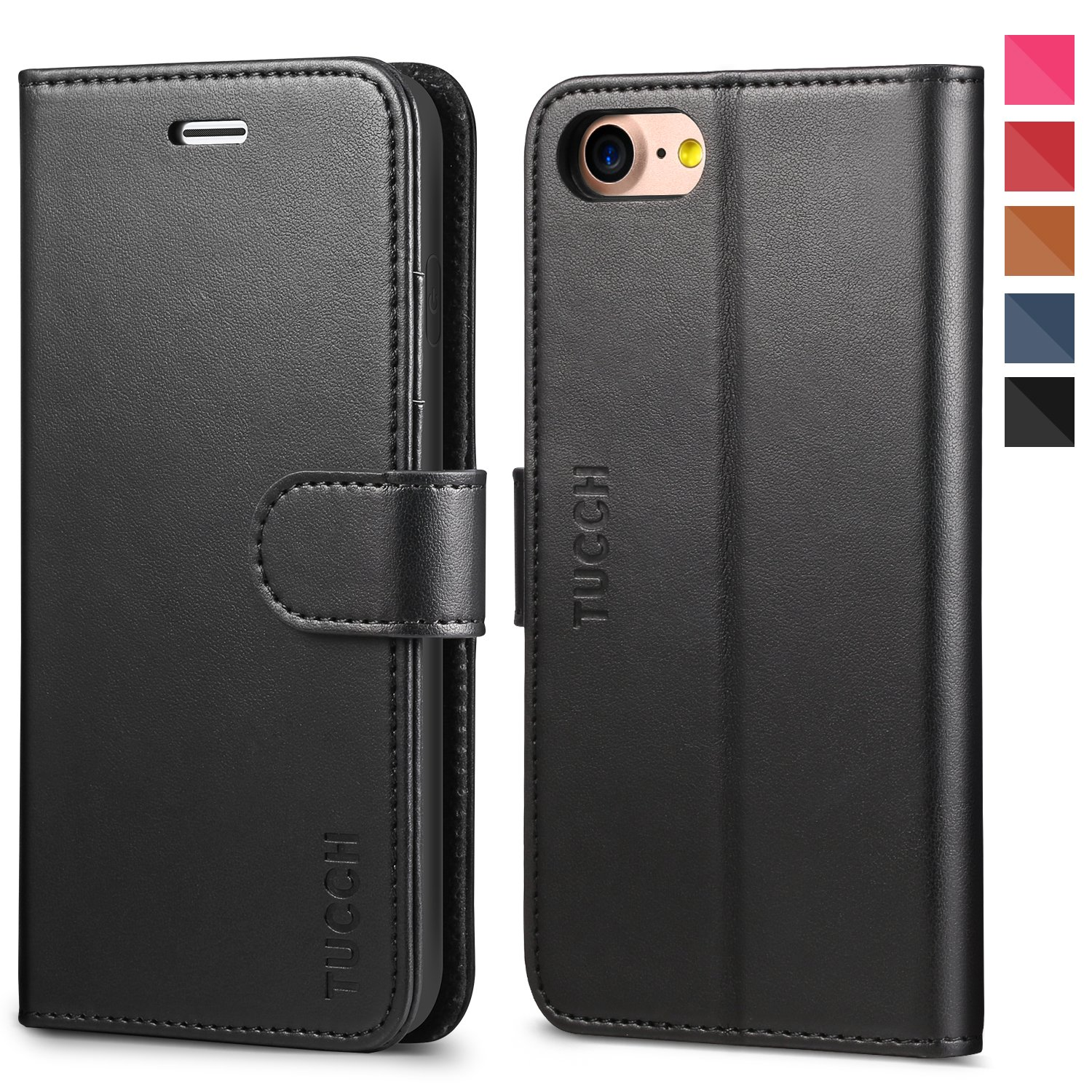 iPhone 8 Case, iPhone 7 Wallet Case, TUCCH Premium PU Leather Flip Folio Wallet Case with Card Slot, Kickstand, Book Design, Magnetic Closure [TPU Interior Case] Compatible with iPhone 8/7, Black by TUCCH