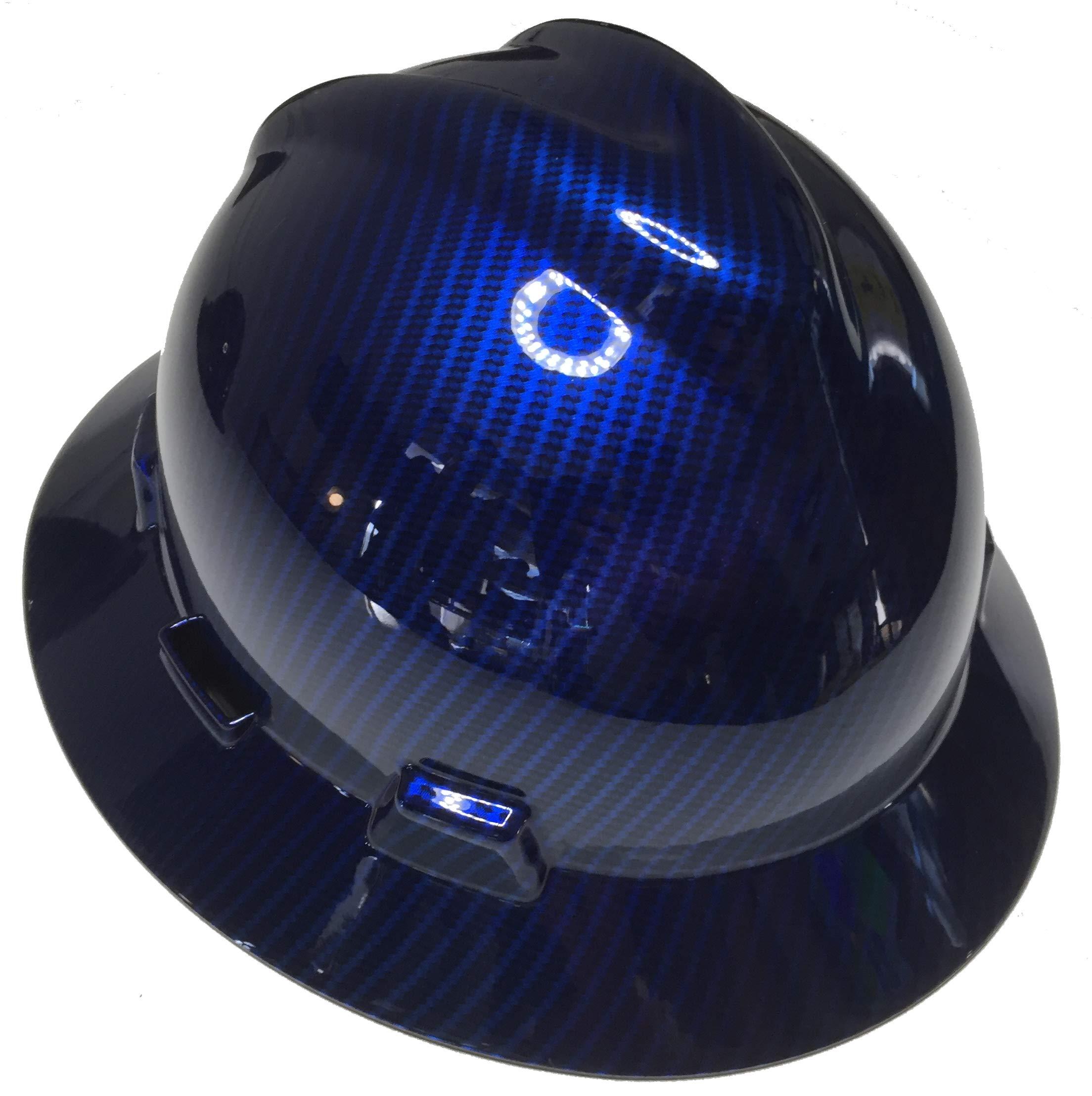 Hard Hat MSA V-Gard Full Brim Custom Blue Kandy Carbon Fiber