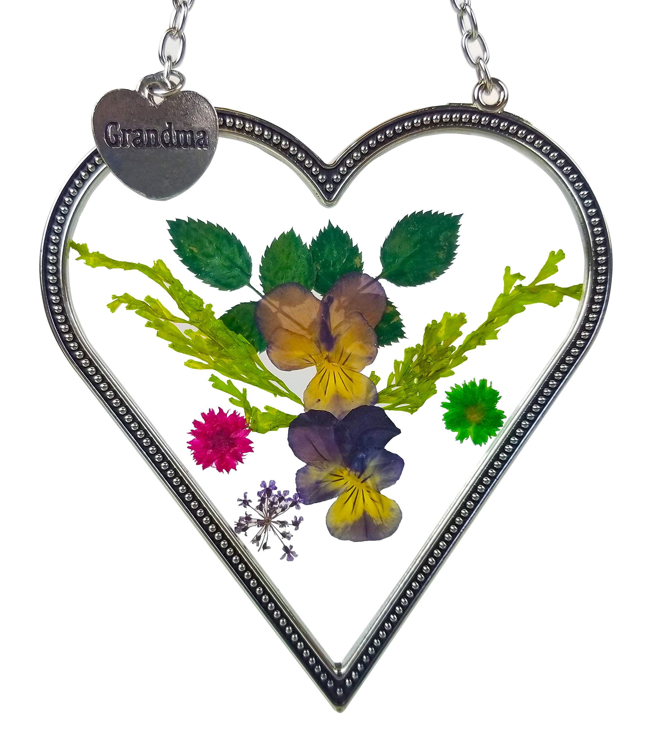 Banberry Designs Grandma Heart Shaped Suncatcher with Real Pressed Flowers in Glass and Silver Metal Hanging Charm - Grandmother Gifts - Gifts for Grandma