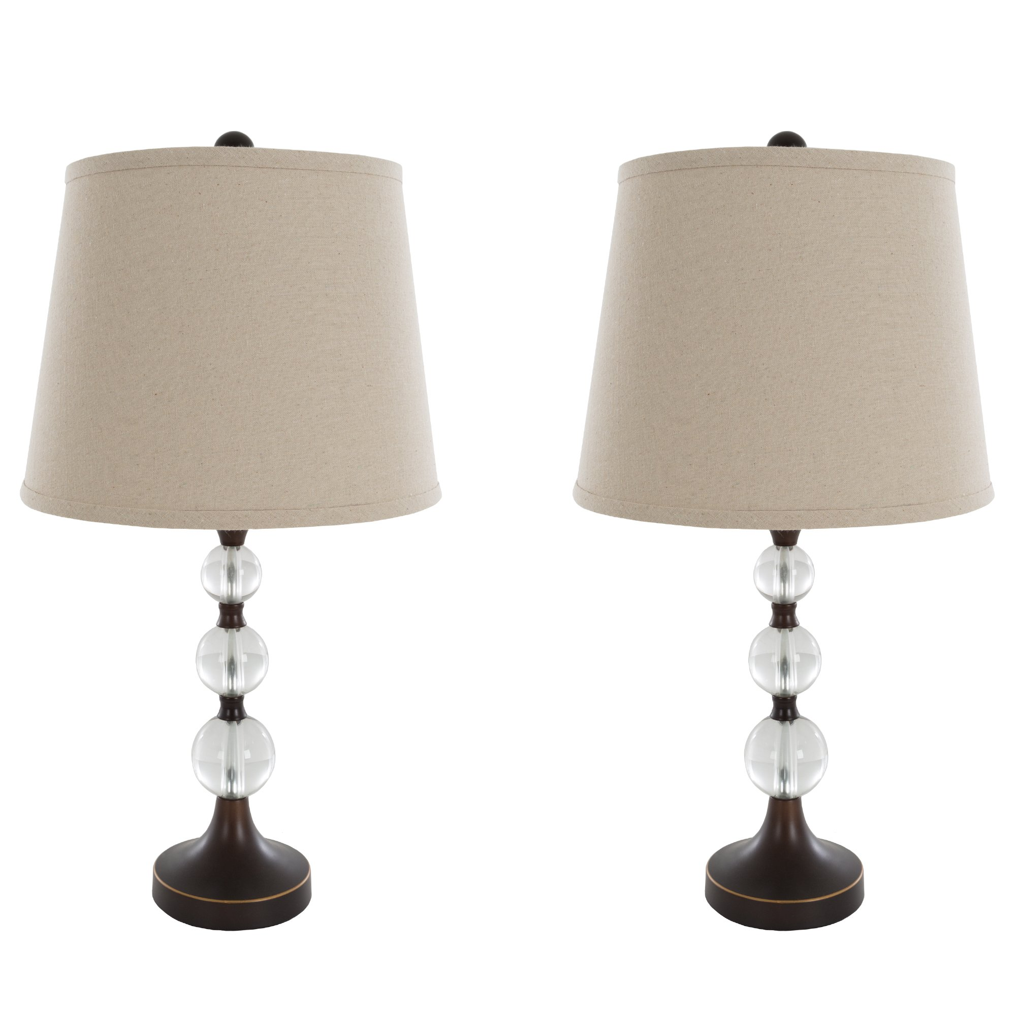 Table Lamps Set of 2, Crystal Balls with Bronze (2 LED Bulbs included) by Lavish Home