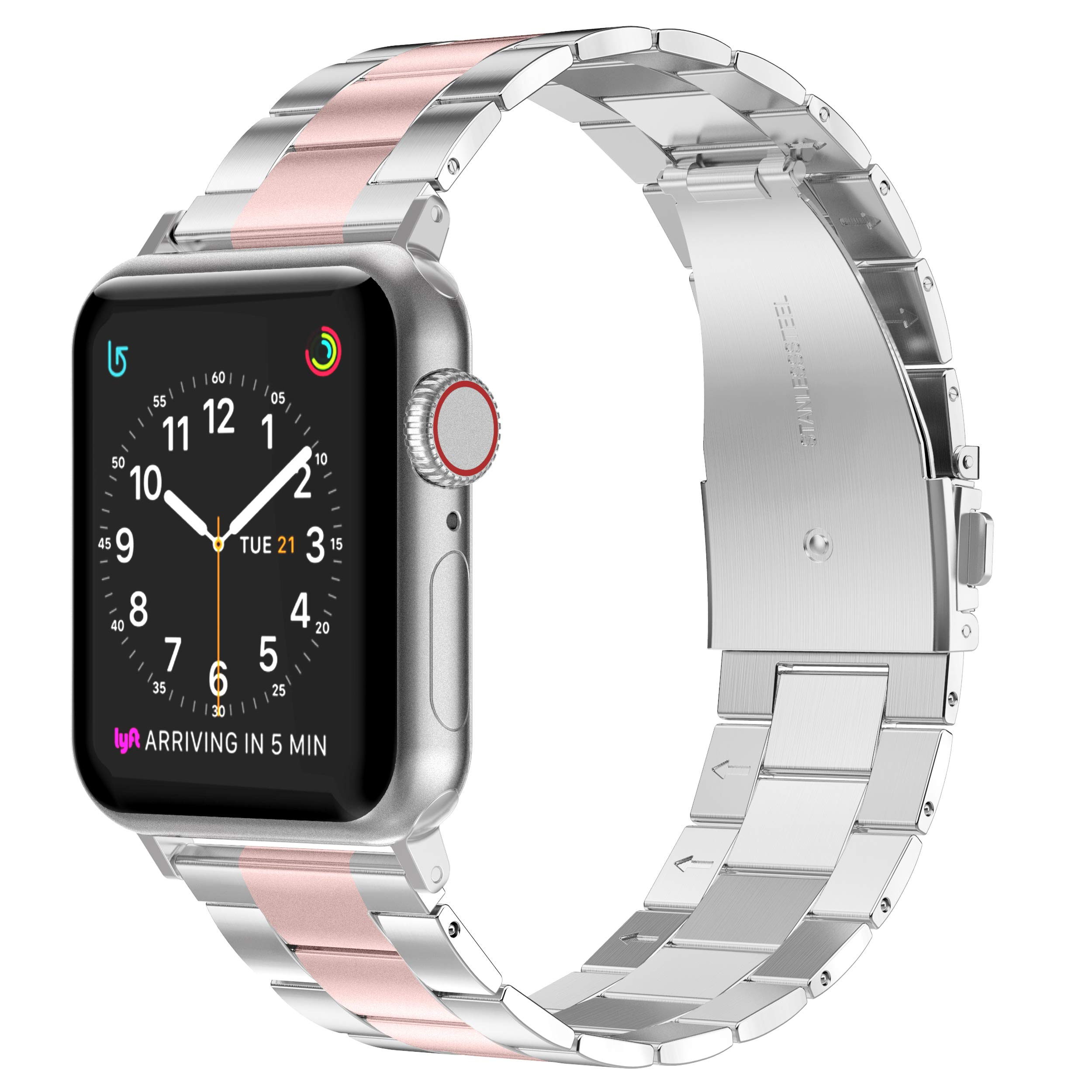 Wearlizer Stainless Steel Compatible with Apple Watch Band 38mm 40mm Women Men,Ultra-Thin Lightweight Color Matching Replacement Band Strap Compatible for iWatch Bands Series4321 Rose Gold+Silver