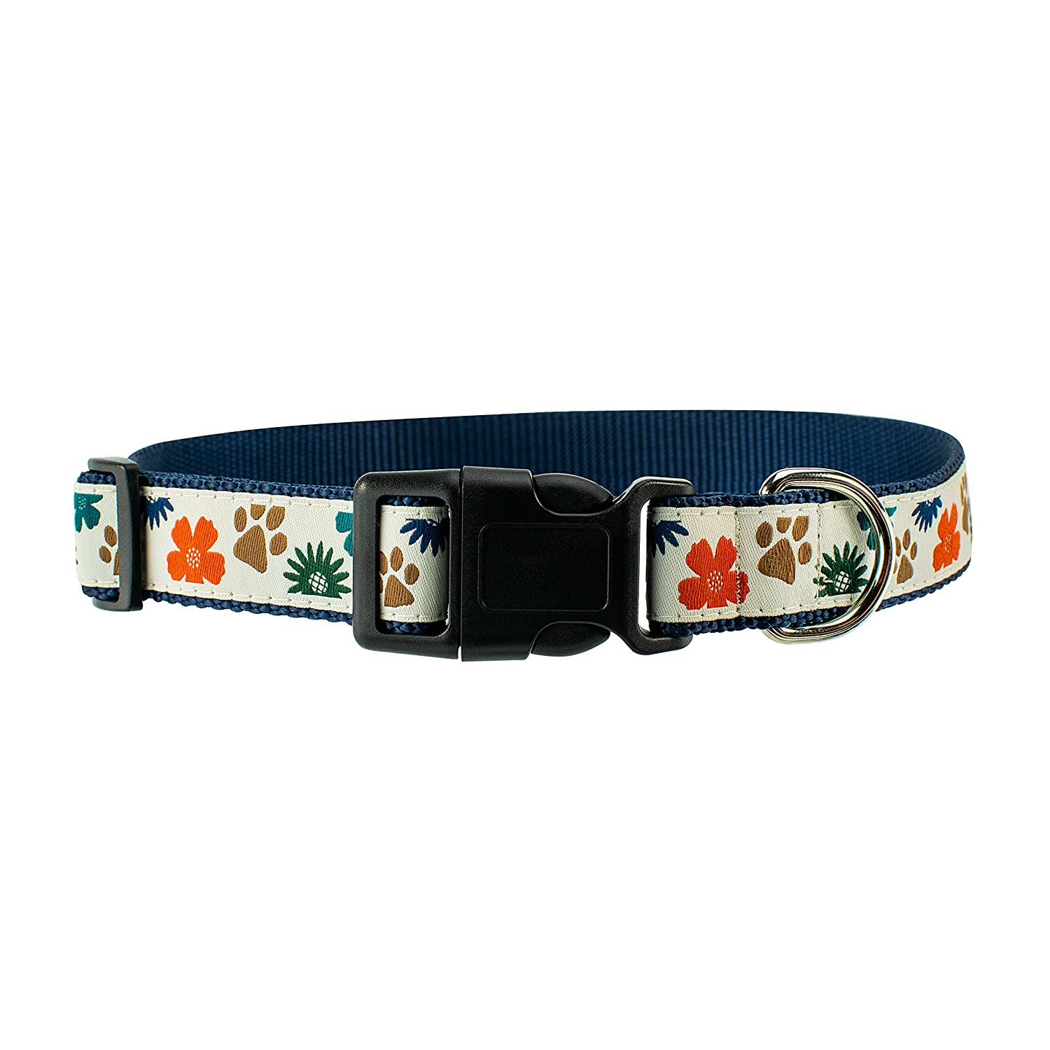 Large 18\ Dog & Company Bloom Pattern 1  Wide Heavy Duty Adjustable Pet Collar (Large)