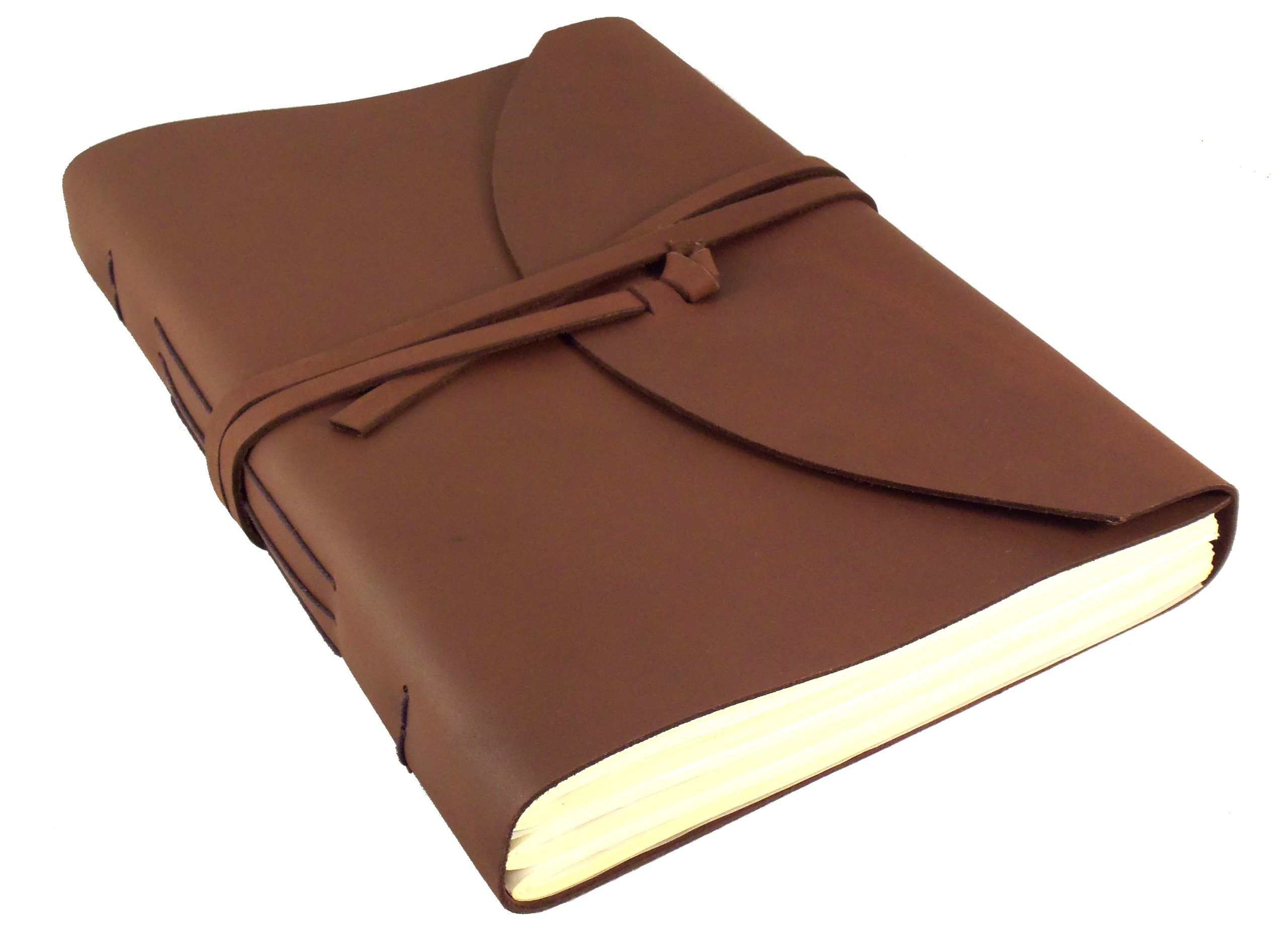 Large Genuine Leather Legacy Journal/Sketchbook with Gift Box - 400 Pages - 9'' x 12'' - Rich Dark Brown
