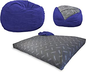 CordaRoy's Bean Bag Chair, Corduroy Convertible Chair Folds from Bean Bag to Bed, As Seen on Shark Tank- Navy, King Size