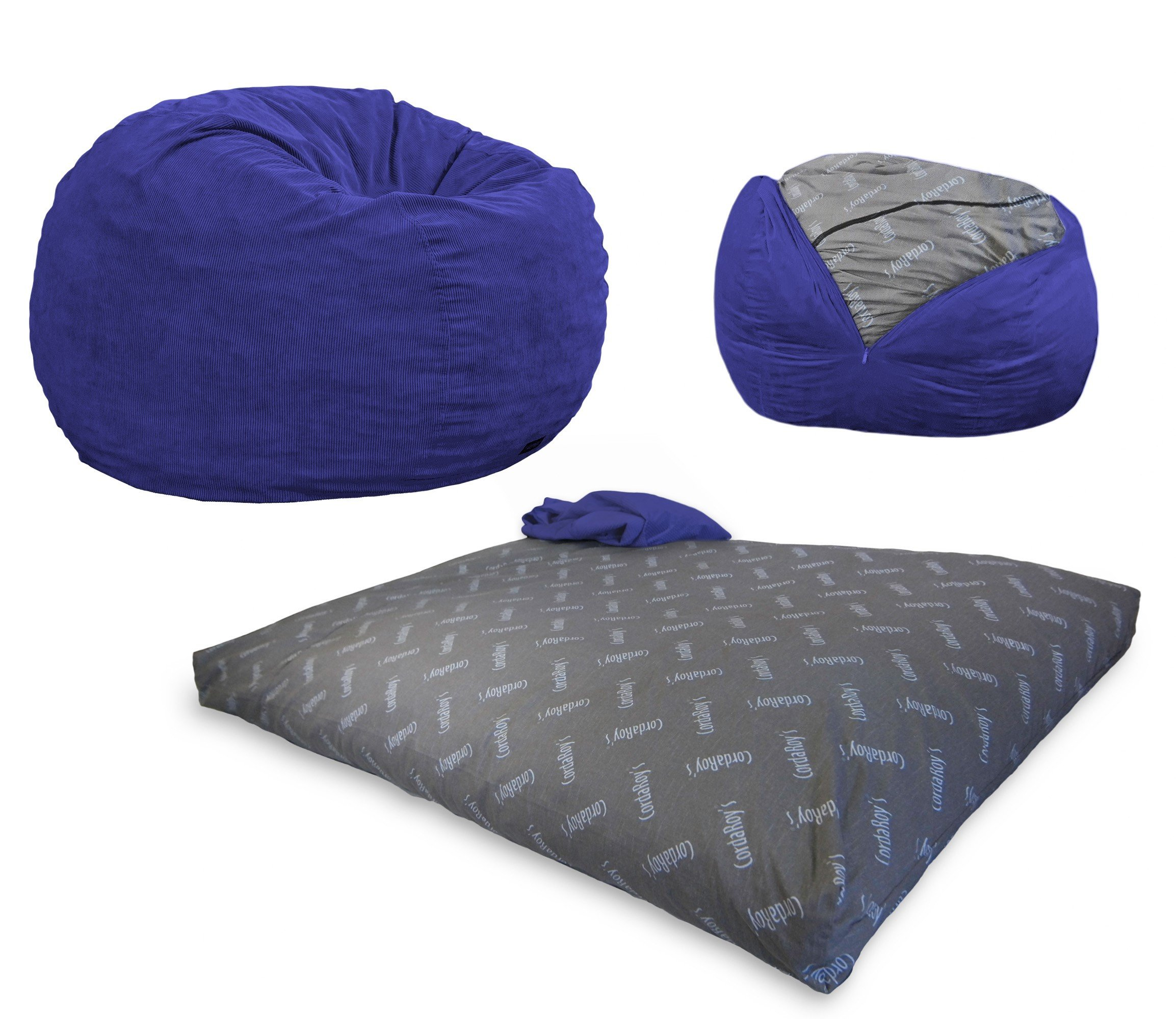 CordaRoy's Bean Bag Chair, Corduroy Convertible Chair Folds from Bean Bag to Bed, As Seen on Shark Tank - Navy, Queen Size by CordaRoy's
