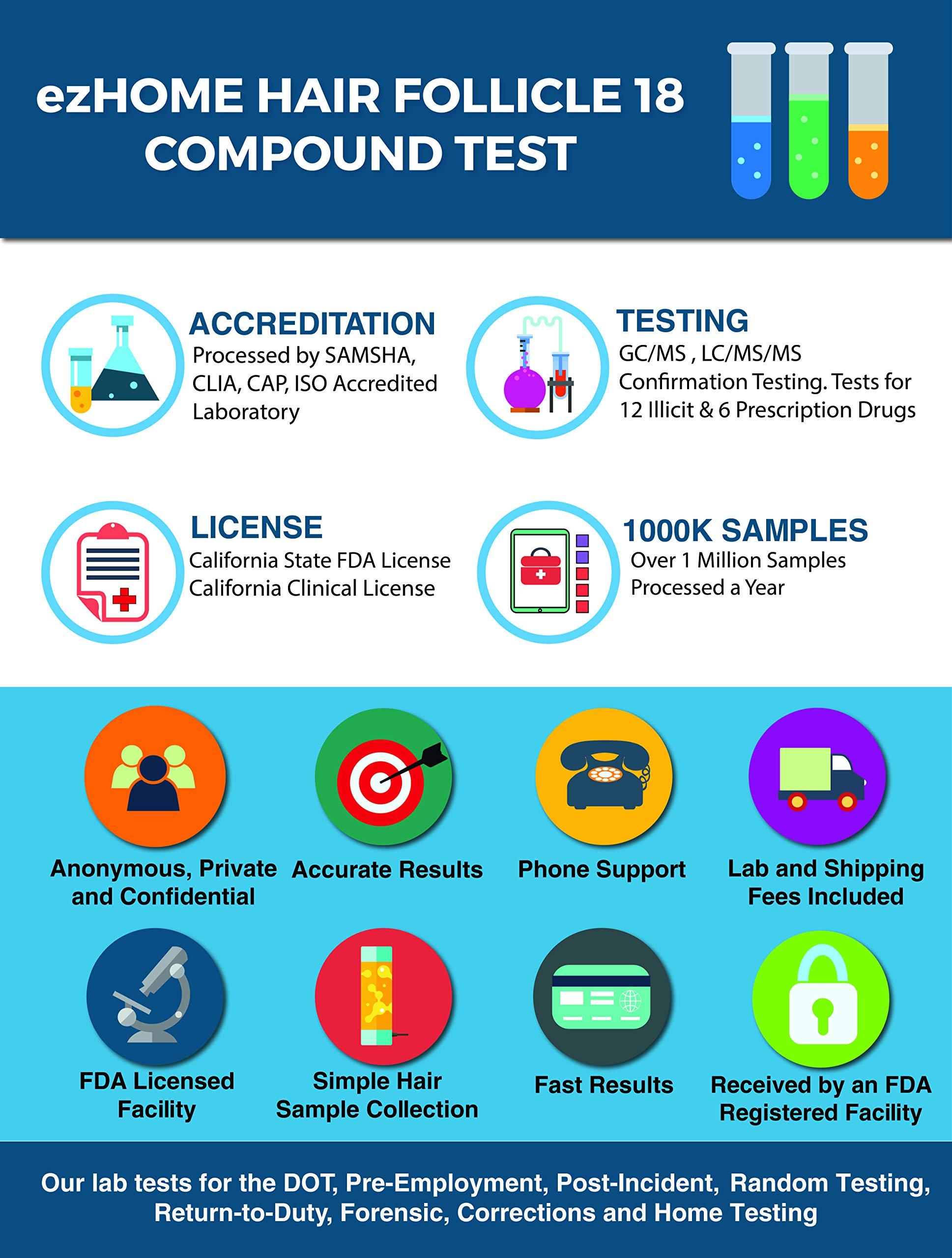 ezHOME Hair Follicle 18 Drug Compound Test