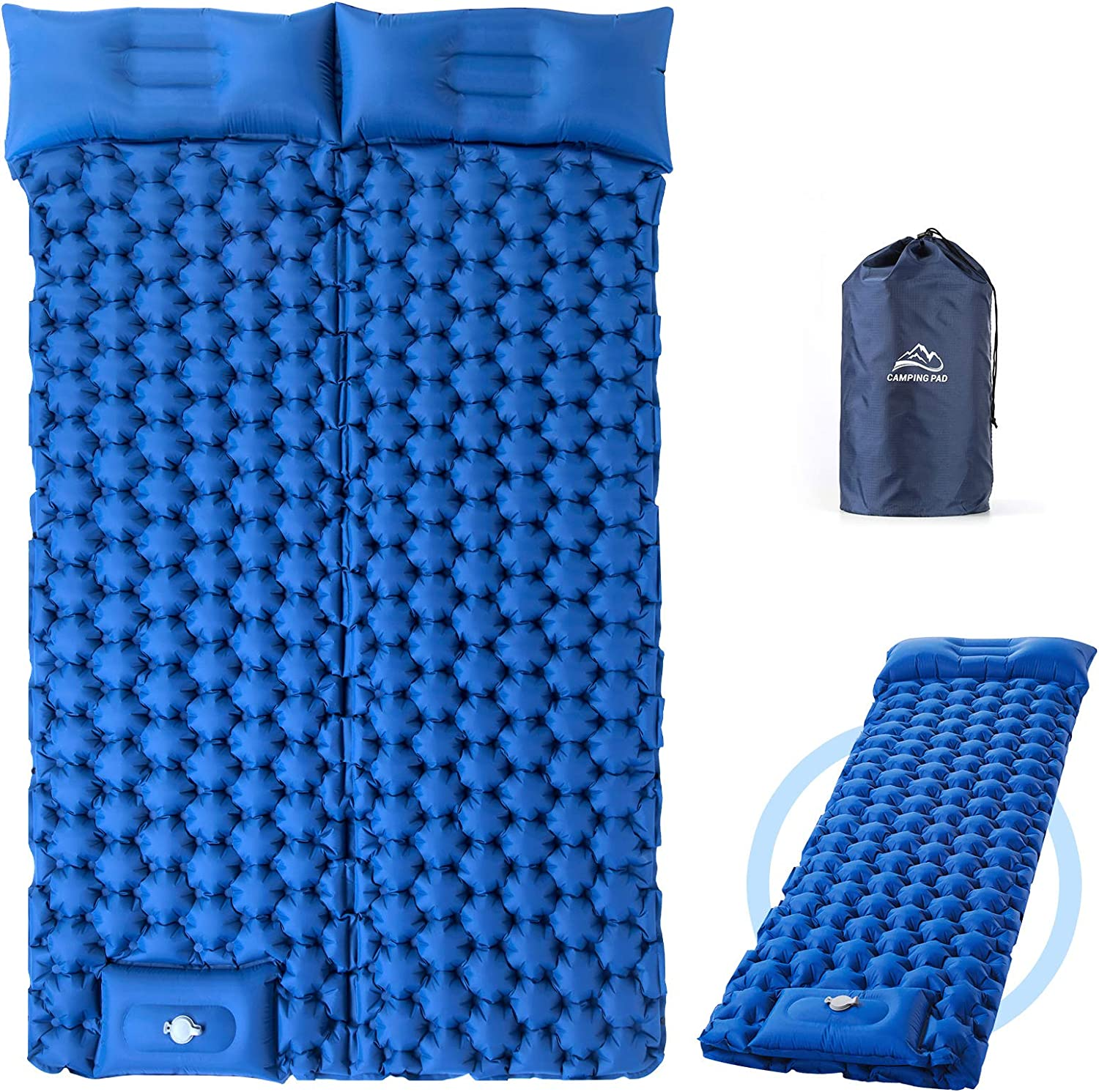 Elegear Sleeping Pad for Camping, Ultralight Inflatable Backpacking Air Mattress with Pillow Built-in Foot Pump, Waterproof Lightweight Compact Sleeping Mat for Hiking Tent Traveling Road Trip Double