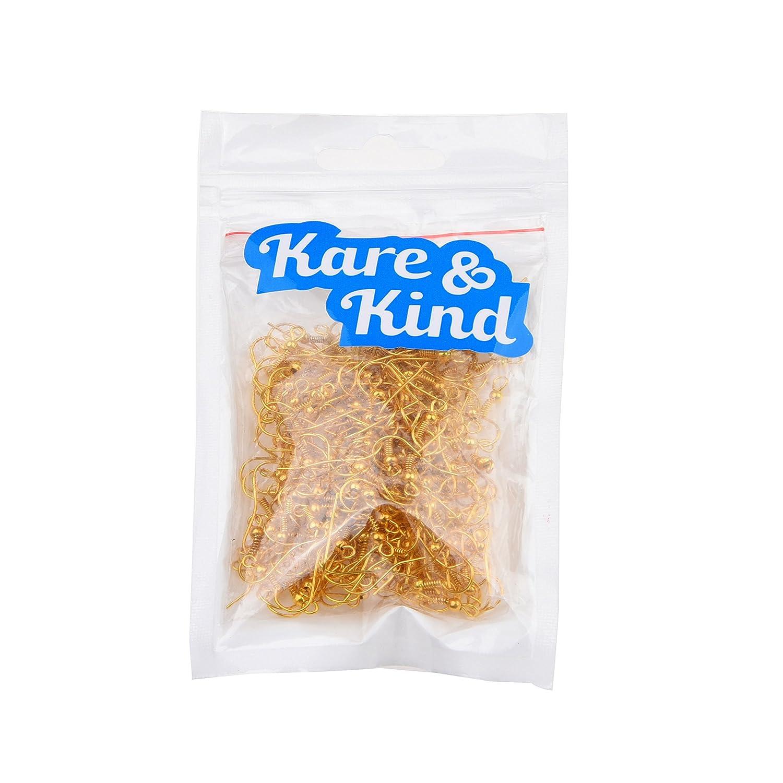 200 pcs 18 mm Avec emballage Kare /& Kind Crochets pour boucles doreilles