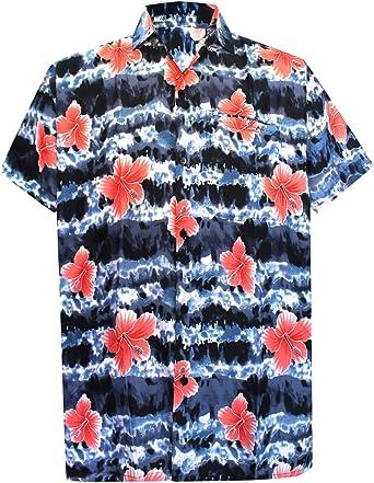 LA LEELA Shirt Camisa Hawaiana Hombre XS - 5XL Manga Corta Delante de Bolsillo Impresión Hawaiana Casual Regular Fit Camisa de Hawaii Azul Real: Amazon.es: Ropa y accesorios
