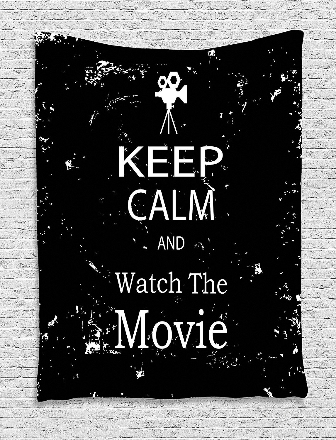 Keep Calm Tapestry, Watch the Movie Quote for Film Buffs Grungy Weathered Backdrop with Old Camera, Wall Hanging for Bedroom Living Room Dorm, 60 W X 80 L Inches, Black White