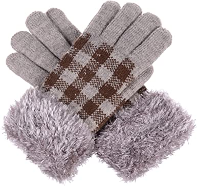Ladies Knitted Fairisle Fleece Lined Winter Gloves with Fur Trim Cuff