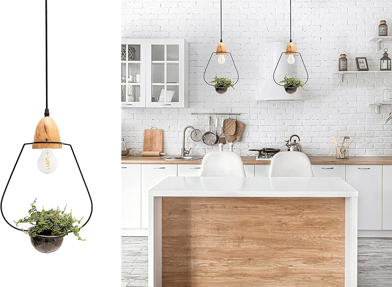"""Pendant Light for Kitchen Island Dining Room Lighting Fixtures Hanging with Plant Pot and Adjustable Wire up to 35"""" Ideal for Dining or Kitchen Table and Nordic Style Decorated Bars by Scandinaf. - -"""