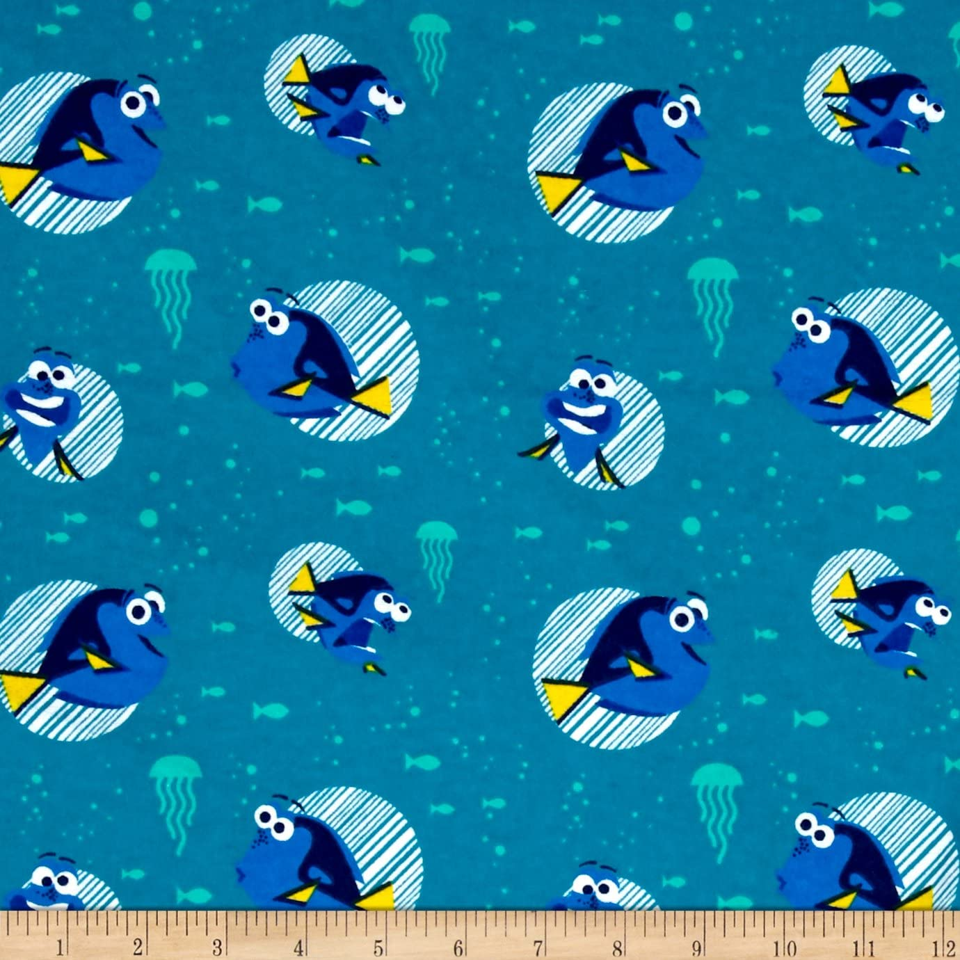 Disney Finding Dory Friends Main Characters Turquoise Camelot 100/% Cotton fabric by the yard CA591