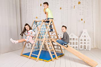 Ezplay Panda Indoor Playground Kids Indoor Jungle Gym Toddlers Age 18months Small Foldable Play Structure For Home Swing And Slide Ladders